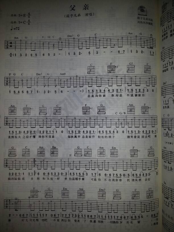吉他谱父亲筷子兄弟_吉他谱_蔡武简谱网图片