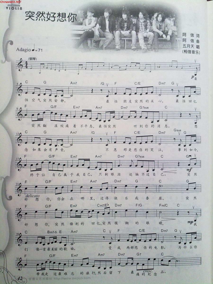 五月天 小提琴谱图片