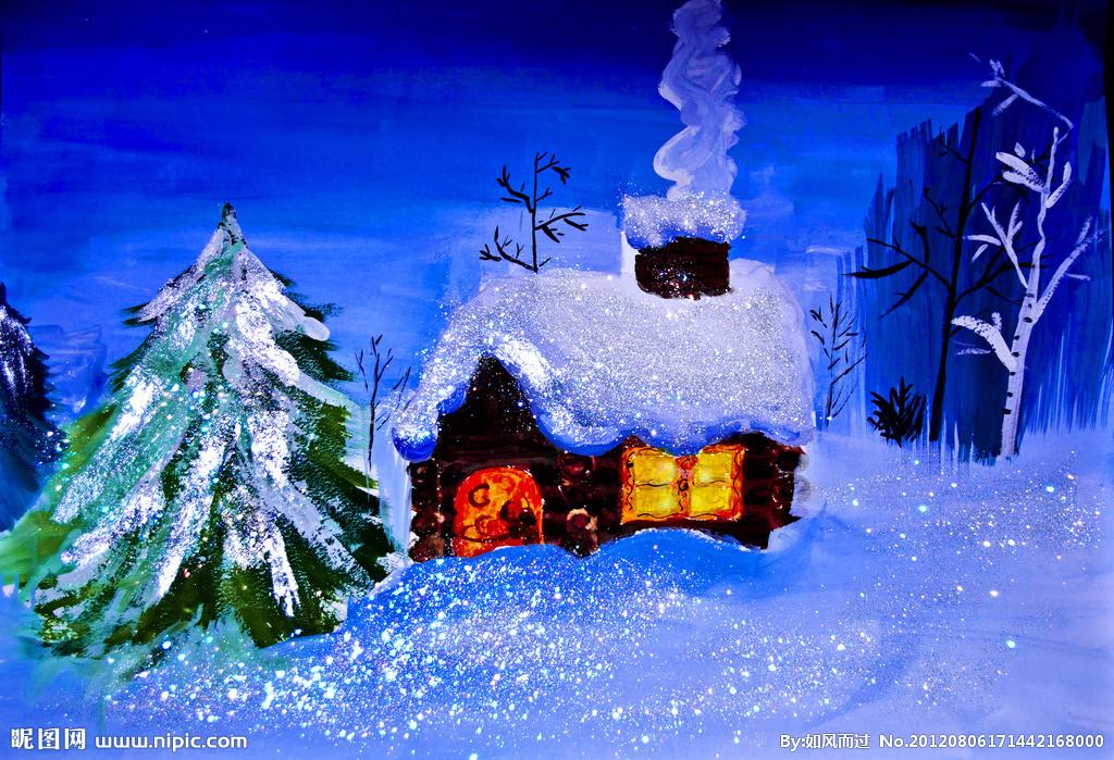 儿童画:  美丽的冬天我就是不会画了.图片