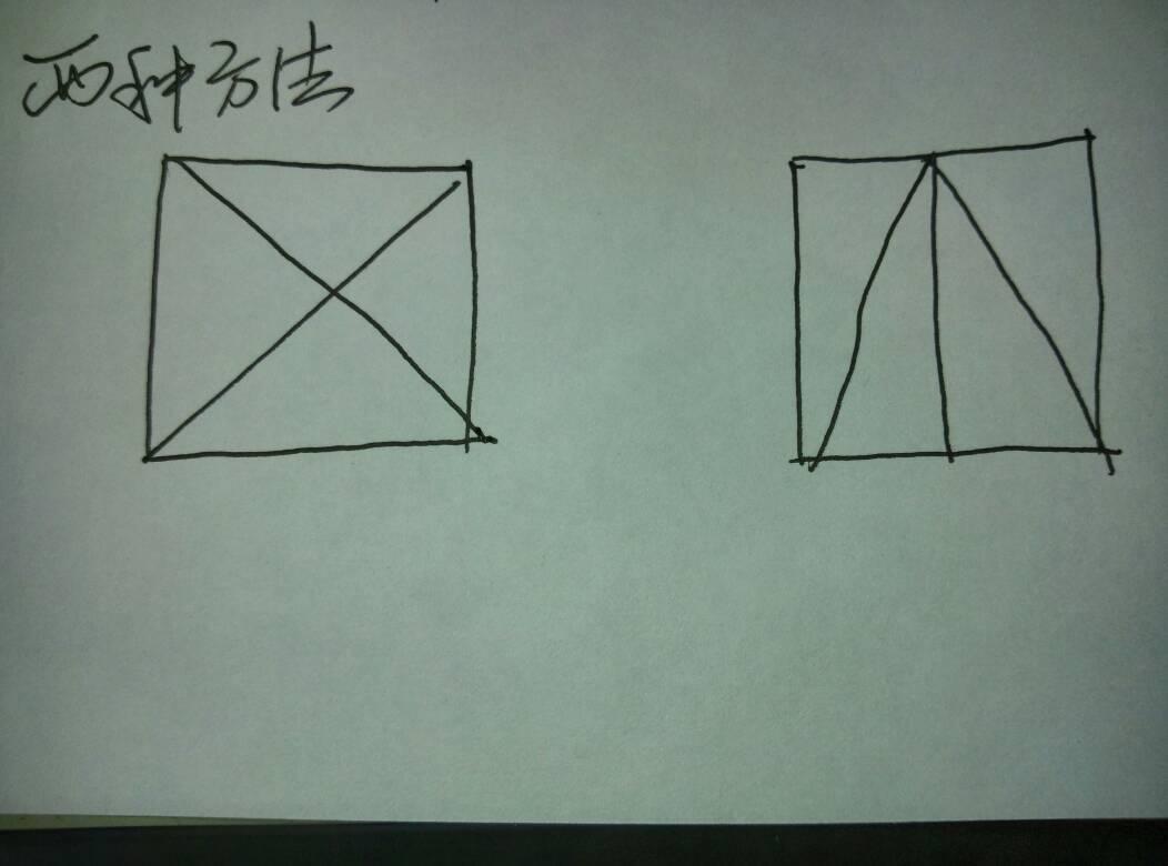 把正方形分成4个相等的三角形有几种分法图片