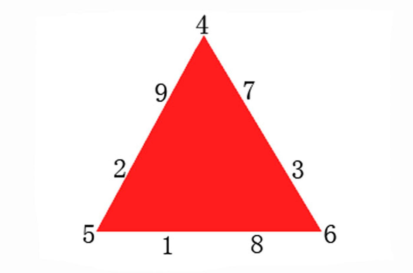 将1~9这9个数字填入下图每个小三角形中,使四个小三角形组成.图片