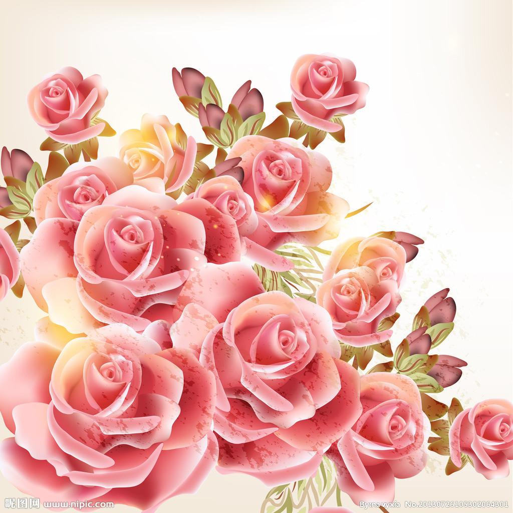画玫瑰花简笔画图片教程 玫瑰设计图__移门图案 玫瑰花黑白图案图