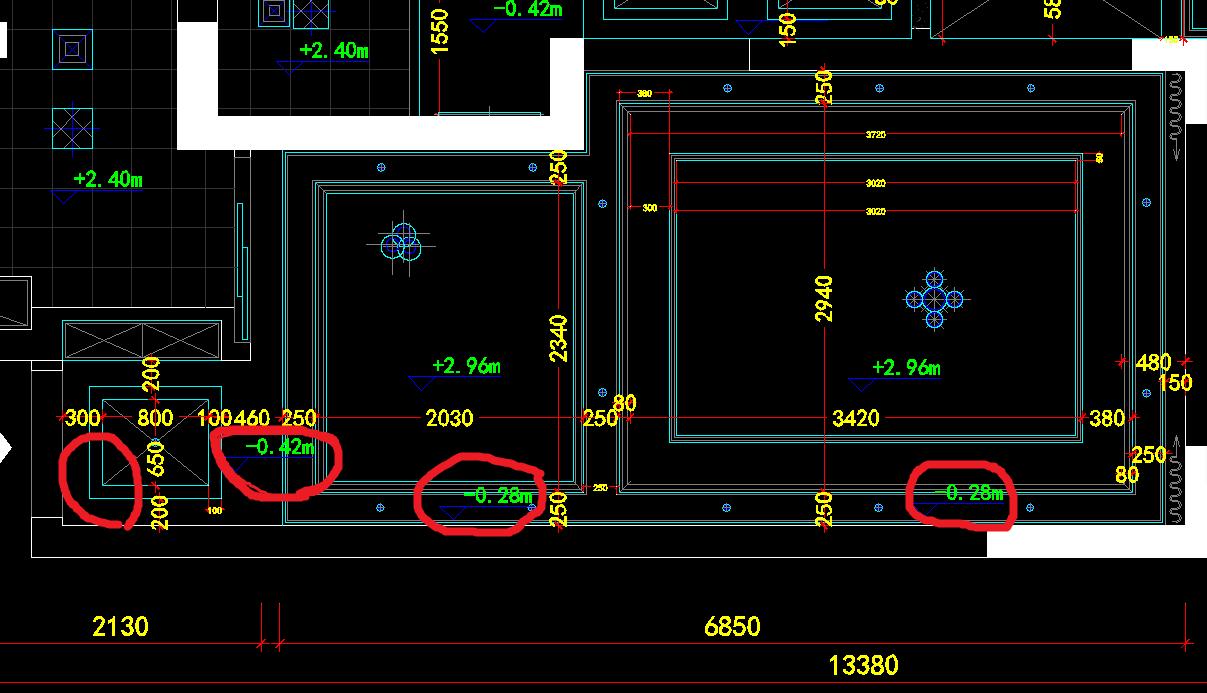 请问,图一是家装设计吊顶图,图二是立面吊顶部分.问题图片