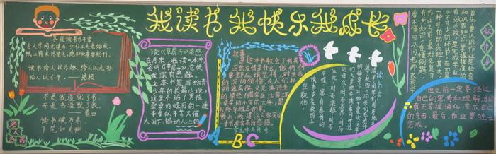 """""""我读书我快乐""""黑板报的设计图"""