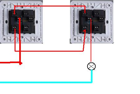 双控开关怎么接线?一个开关控一个灯,总共两个灯!求懂图片