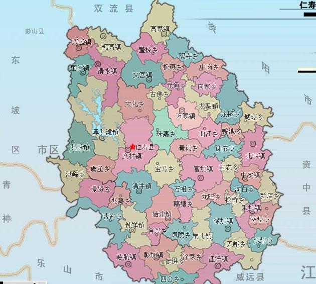 四长省仁寿县行政区划图图片