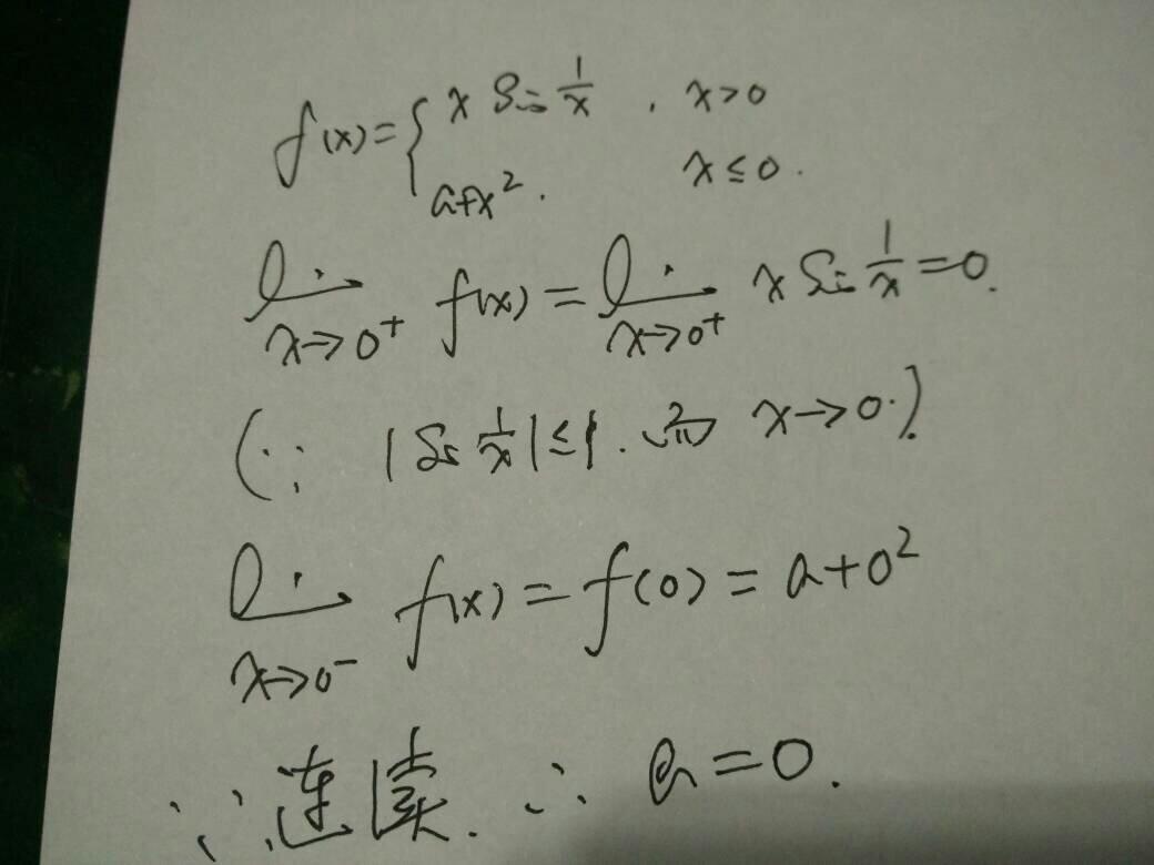fx=xsin1/x极限