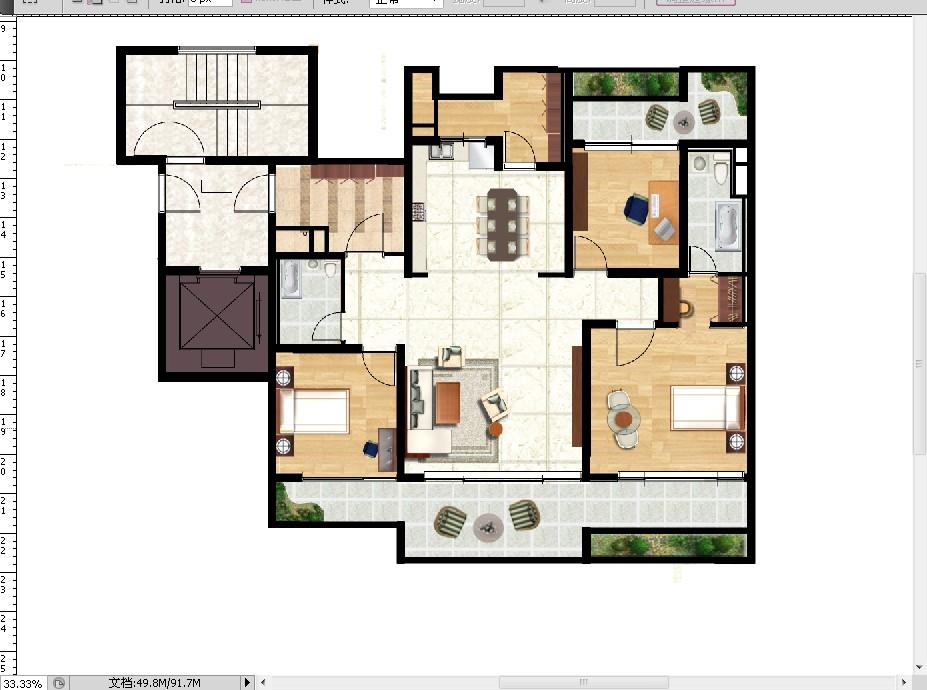 用coreldraw画户型彩平图时,地面瓷砖是怎么填充上去图片
