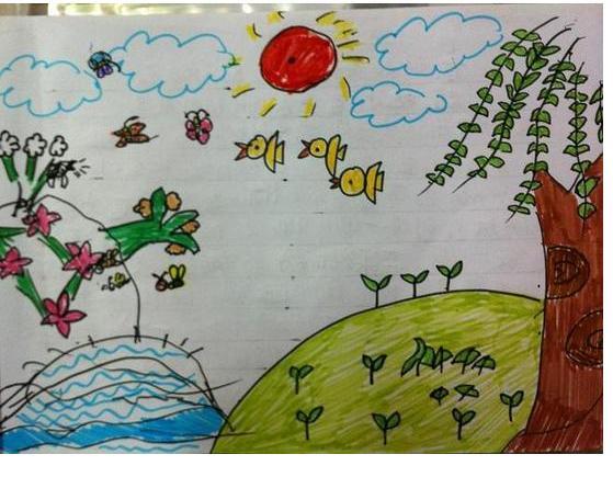 幼儿园中三班春天来了怎么画画图片