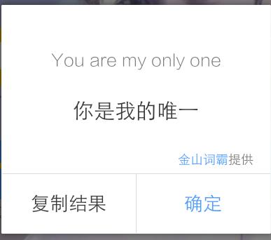 你是我的唯一英文怎么说