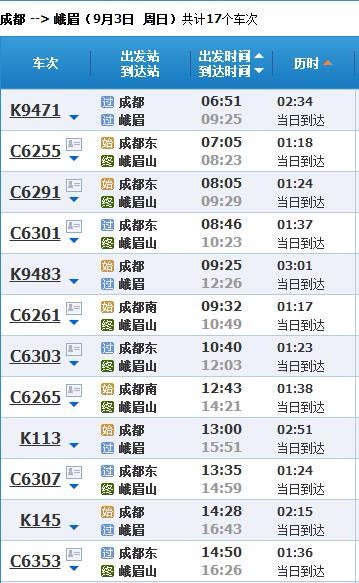 上海到峨眉山火车