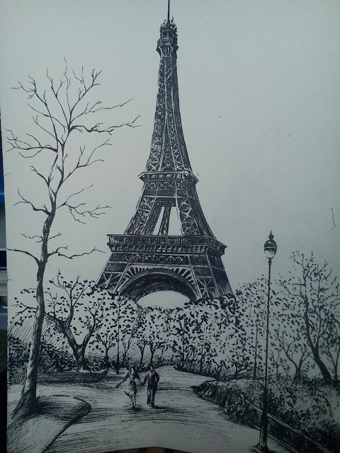【手绘】巴黎铁塔那幅画绘画过程;  !扒皮 吧图片