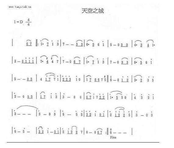 天空之城片尾曲数字钢琴谱图片