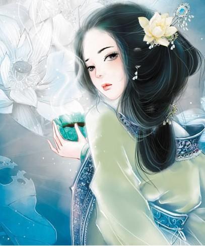 蓝衣女子手绘丹青要古风的最好要看起来淡若的