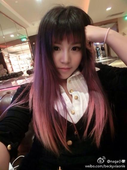 女生,18岁,齐刘海直发,染了一年的黑色头发了,原本打算不再染颜色的图片