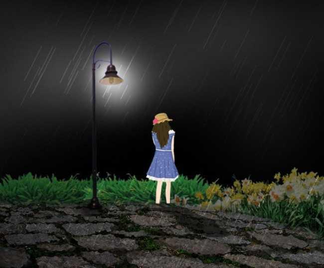 求帮忙做一张背景忧伤孤独手绘女孩的背影,一直在向前