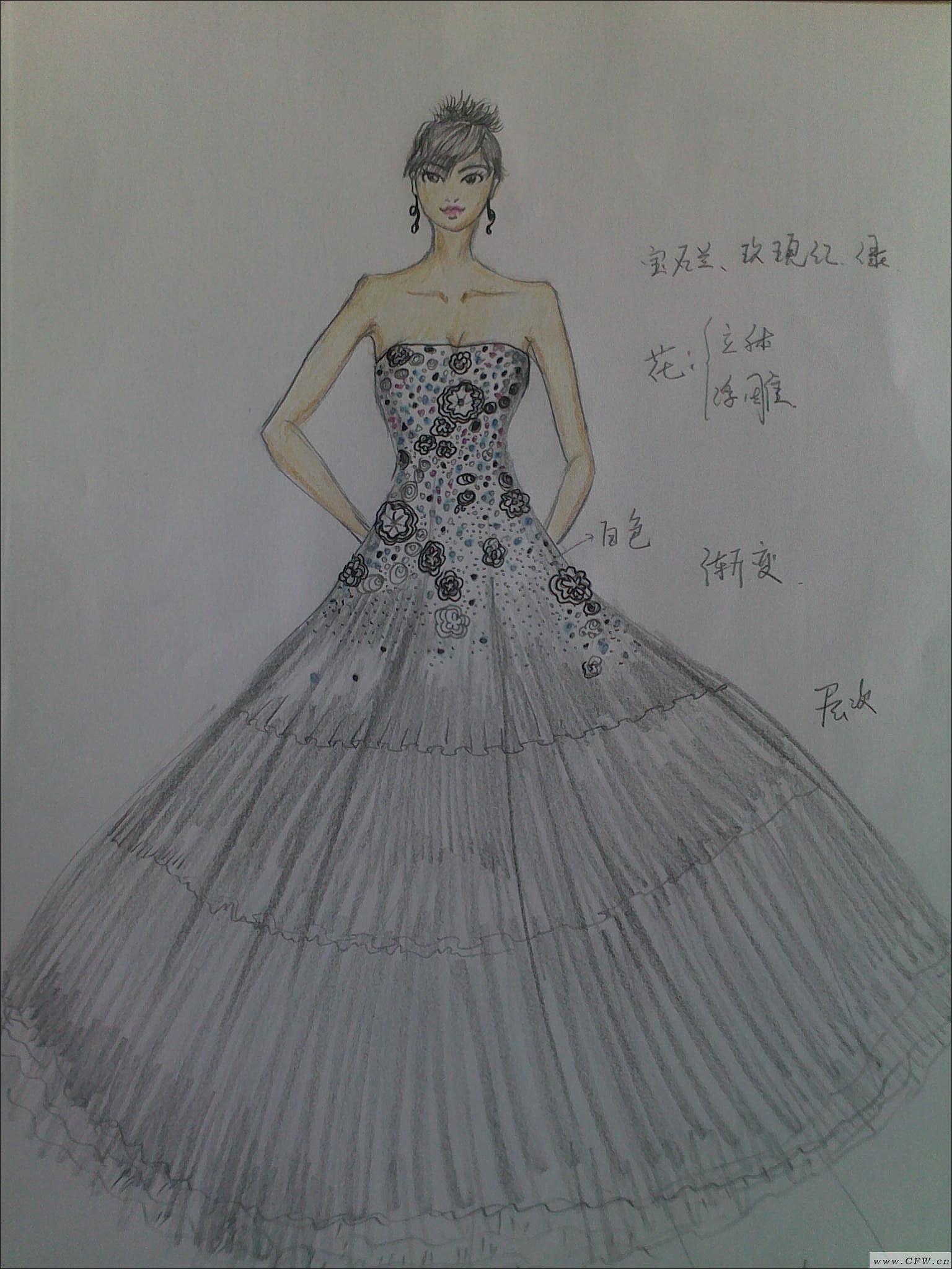 婚纱设计图 手绘婚纱设计图