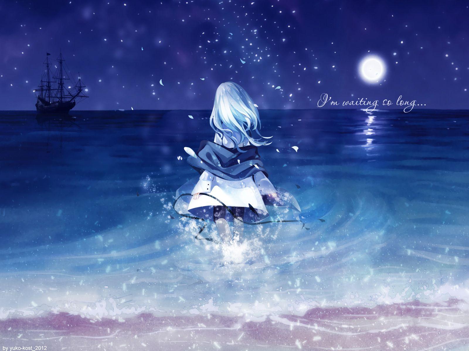动漫美少女 要坐在河边哭的