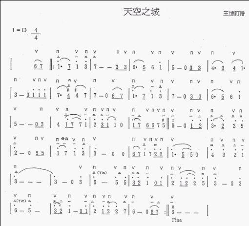 谁给个半音阶口琴《天空之城》简谱图片
