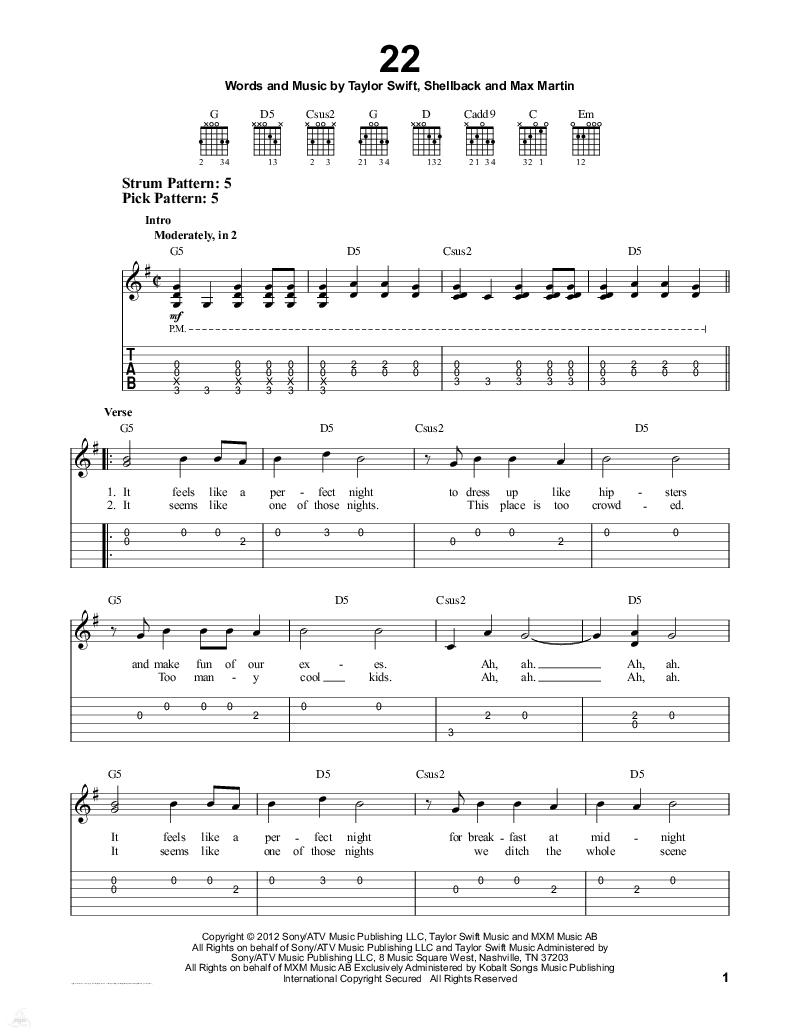 求taylor swift的22钢琴数字简谱带歌词图片