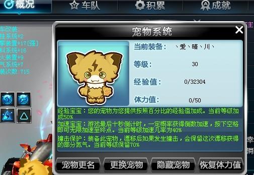 QQ飞车中,满30级的黄金神兽和飞虎王属性是怎样的 要有图为证 黄金图片
