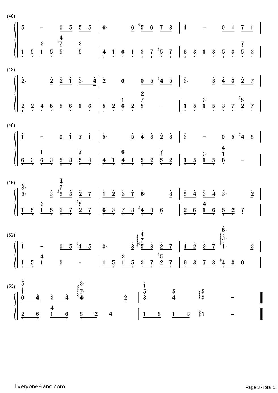 周杰伦的彩虹钢琴曲双手简谱图片