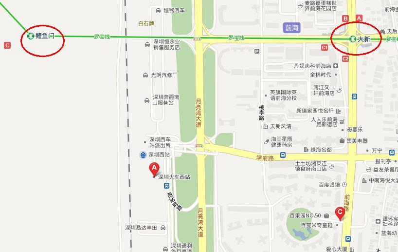 大新站到深圳西站 深圳西站最近的地铁站 鲤鱼门到深圳西站 大剧院到图片