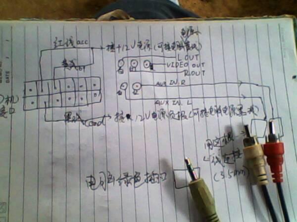 丰田卡罗拉cd机与电脑连接当功放用怎样连接 求aux接线图高清图片