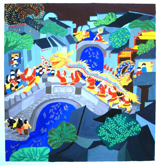 求一个色彩装饰画范画,城市与农村主题的图片