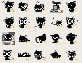 求图里那种黑色小猫的qq表情,是qq空间签到里的那只猫图片