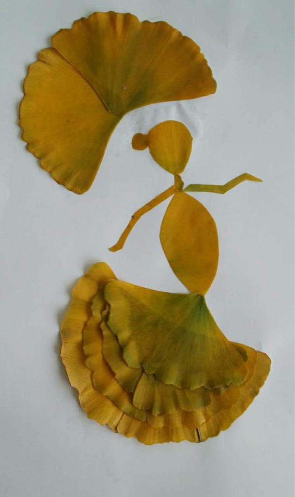 准备:银杏叶若干,米兰叶若干,杨树叶若干,剪刀,纸板,胶棒,画笔.图片