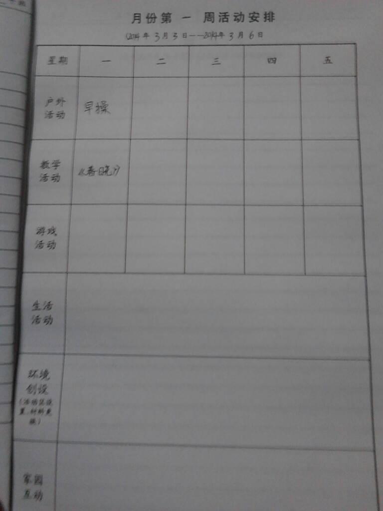幼儿园中班备课本月份第一周活动安排怎么写?