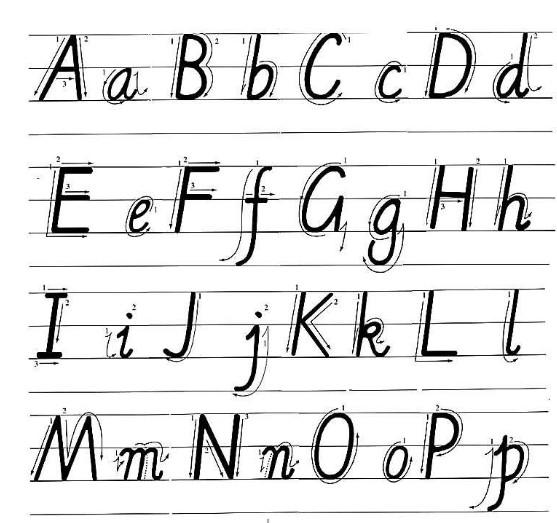 准的英手写字