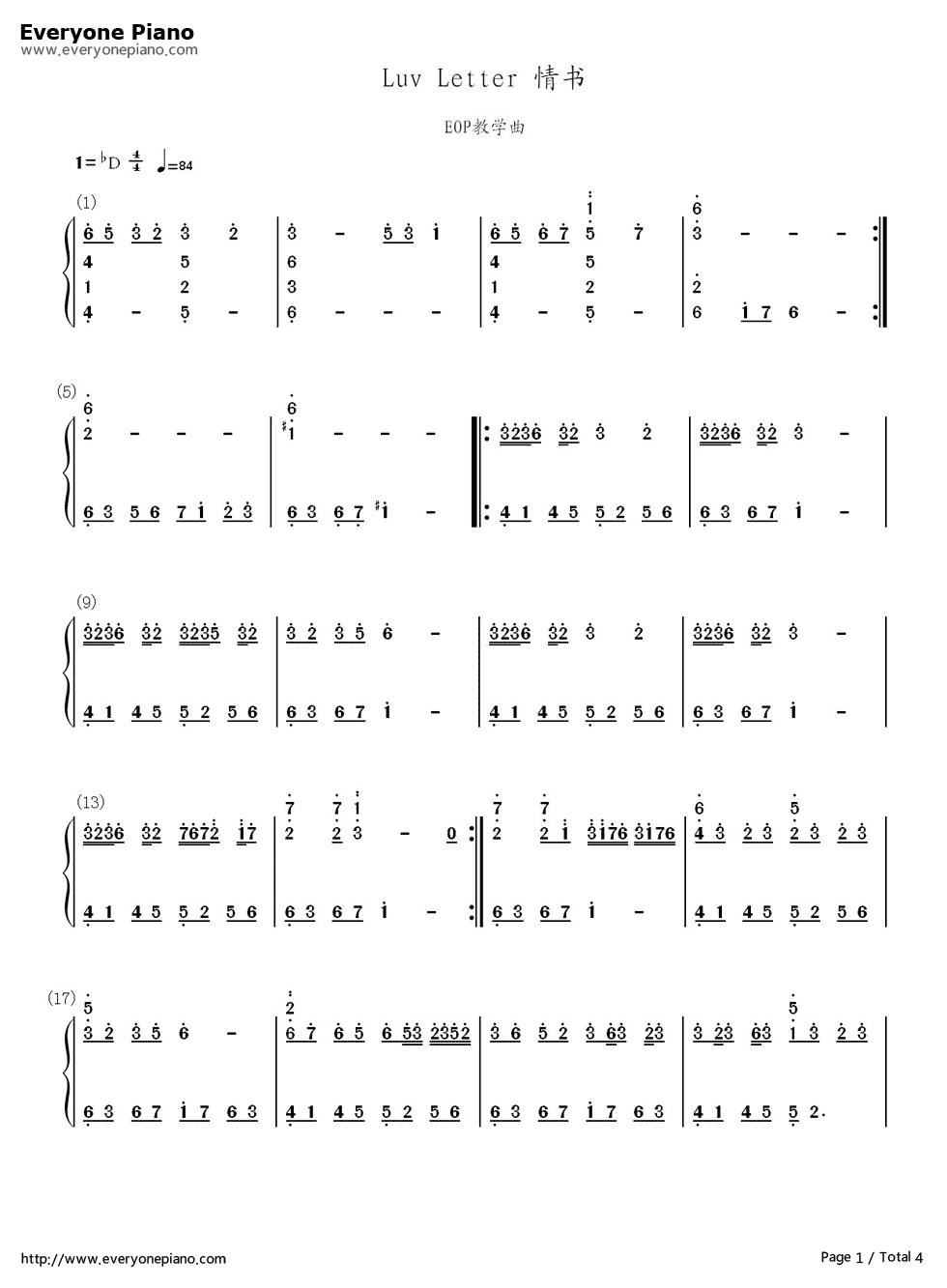 钢琴曲luv letter的简谱与五线谱图片