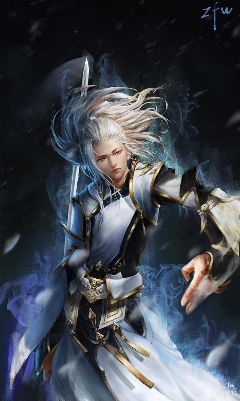 古代动漫白衣墨发男子图片图片