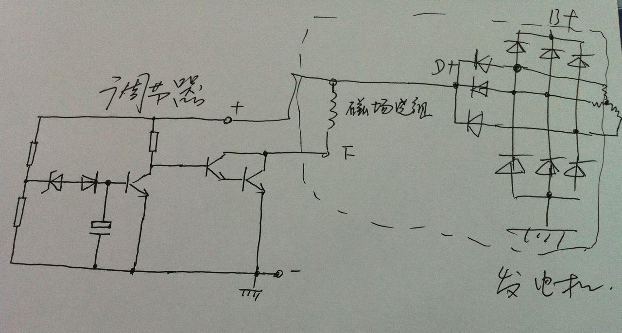 简单画一个 汽车发电机调节器的工作原理高清图片
