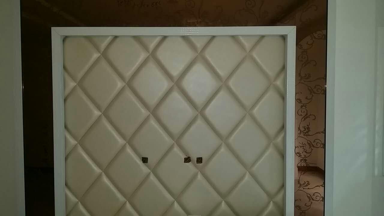 欧式软包电视背景墙马赛克玻璃效果图