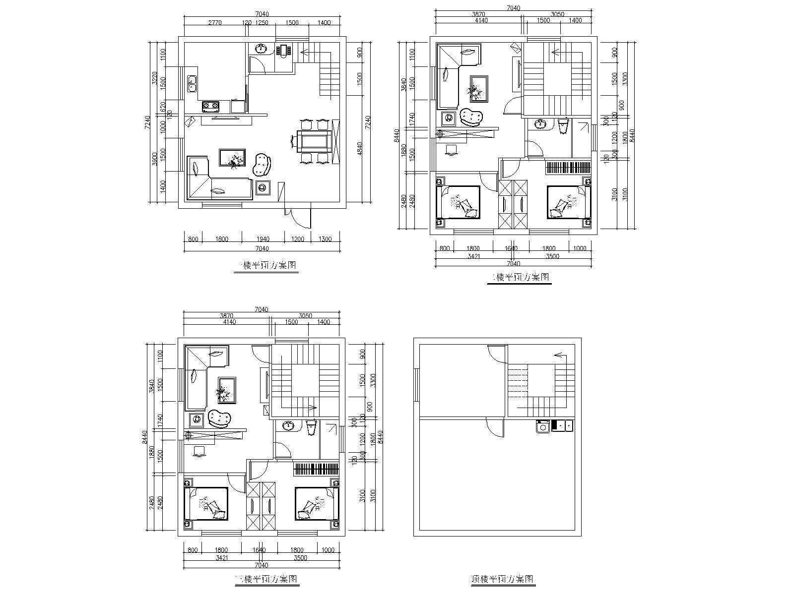 求5米*12米自建房建筑图纸(带尺寸数据)与室内图纸(带图片