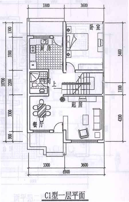 农村建房子求设计图,宽14米,长15米, 一厅三房,卫生间,楼梯,请求高手图片