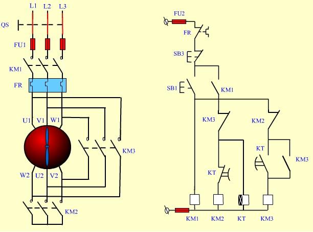 星三角电机启动实物接线图(带中间继电器),哪里可以看到?图片