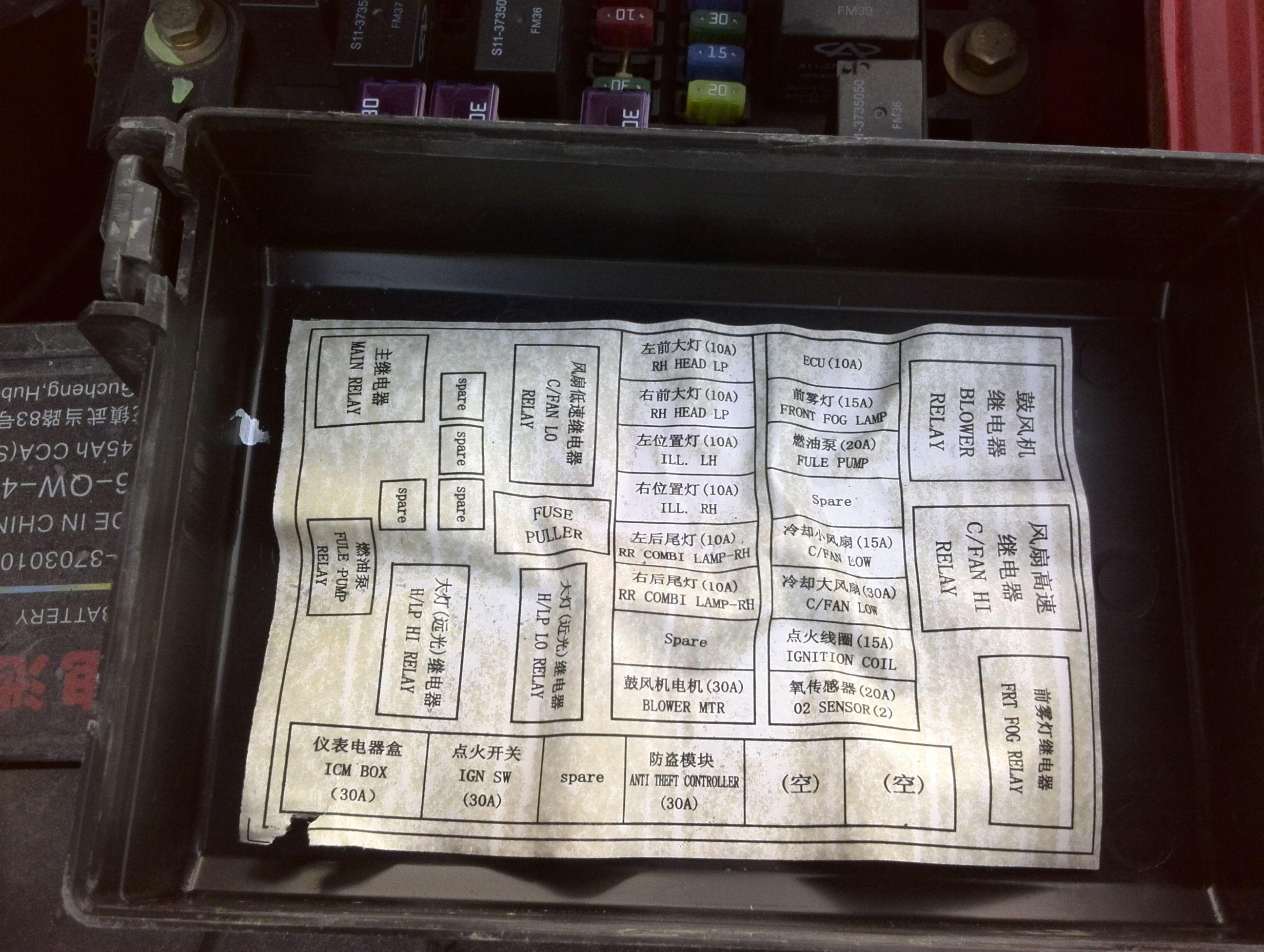 奇瑞qq保险盒电路图高清图片