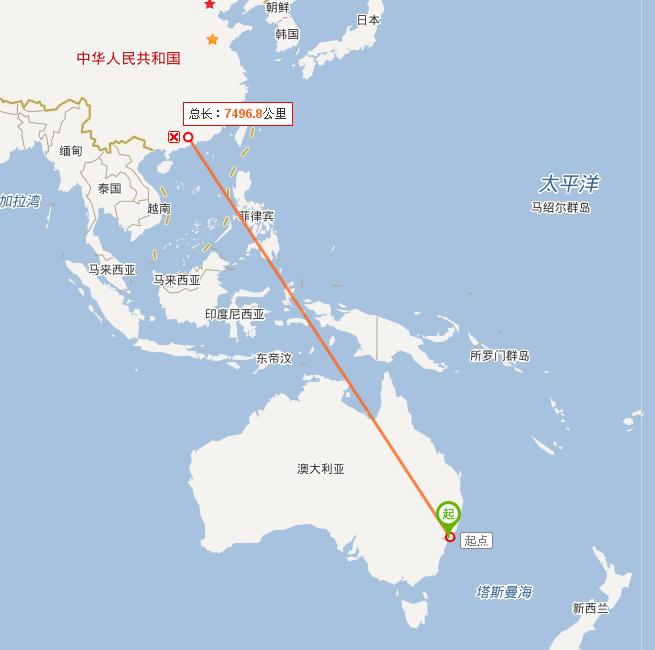 悉尼到广州的航班