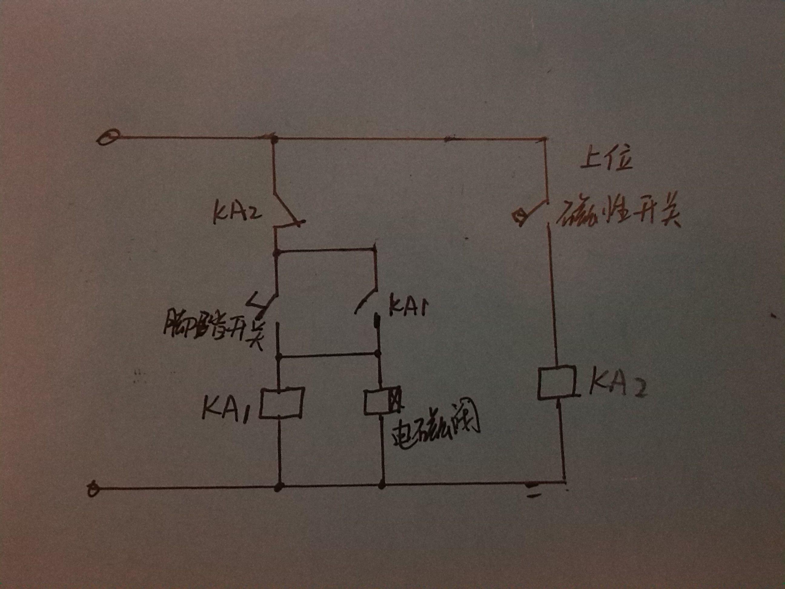 一个脚踏开关,两个继电器,一个电磁阀两个磁性开关控制一个磁性气缸图片