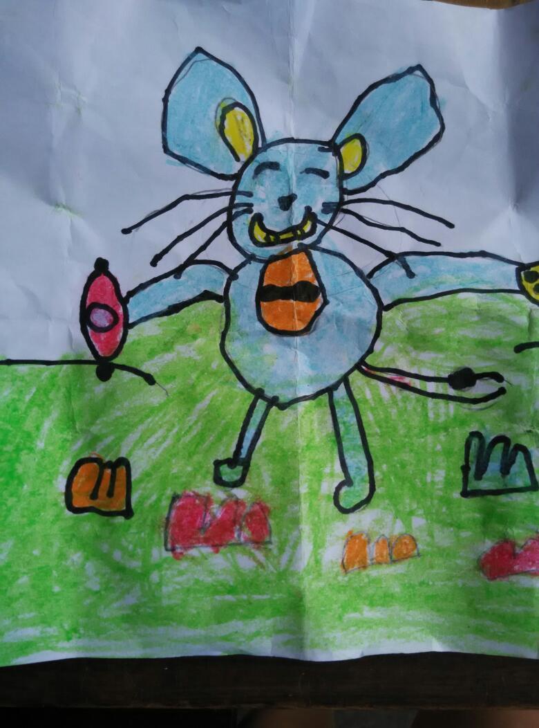 开学第二天,画了第一幅画(小老鼠)漂亮吧!图片