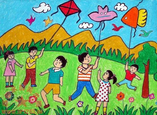 爸爸妈妈和 孩子在放风筝的水彩画_百度宝宝知道图片