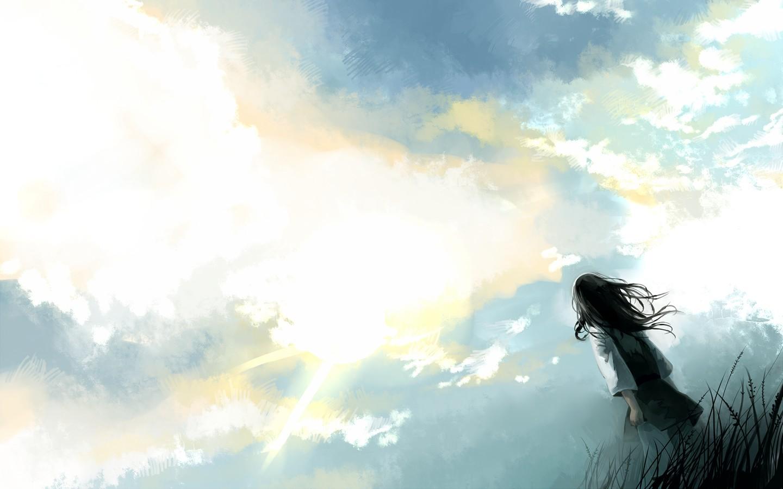 求动漫图片 人物仰望天空的图 能做壁纸的最好啊 百度知道 -同问求动