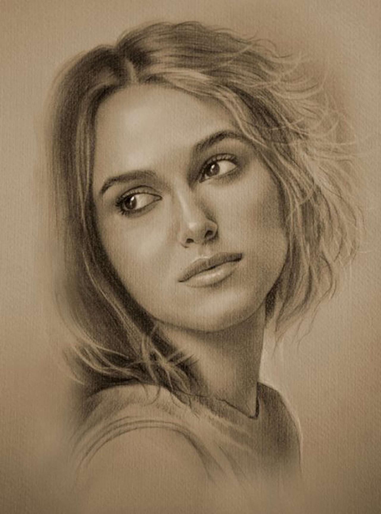 求素描美女临摹图