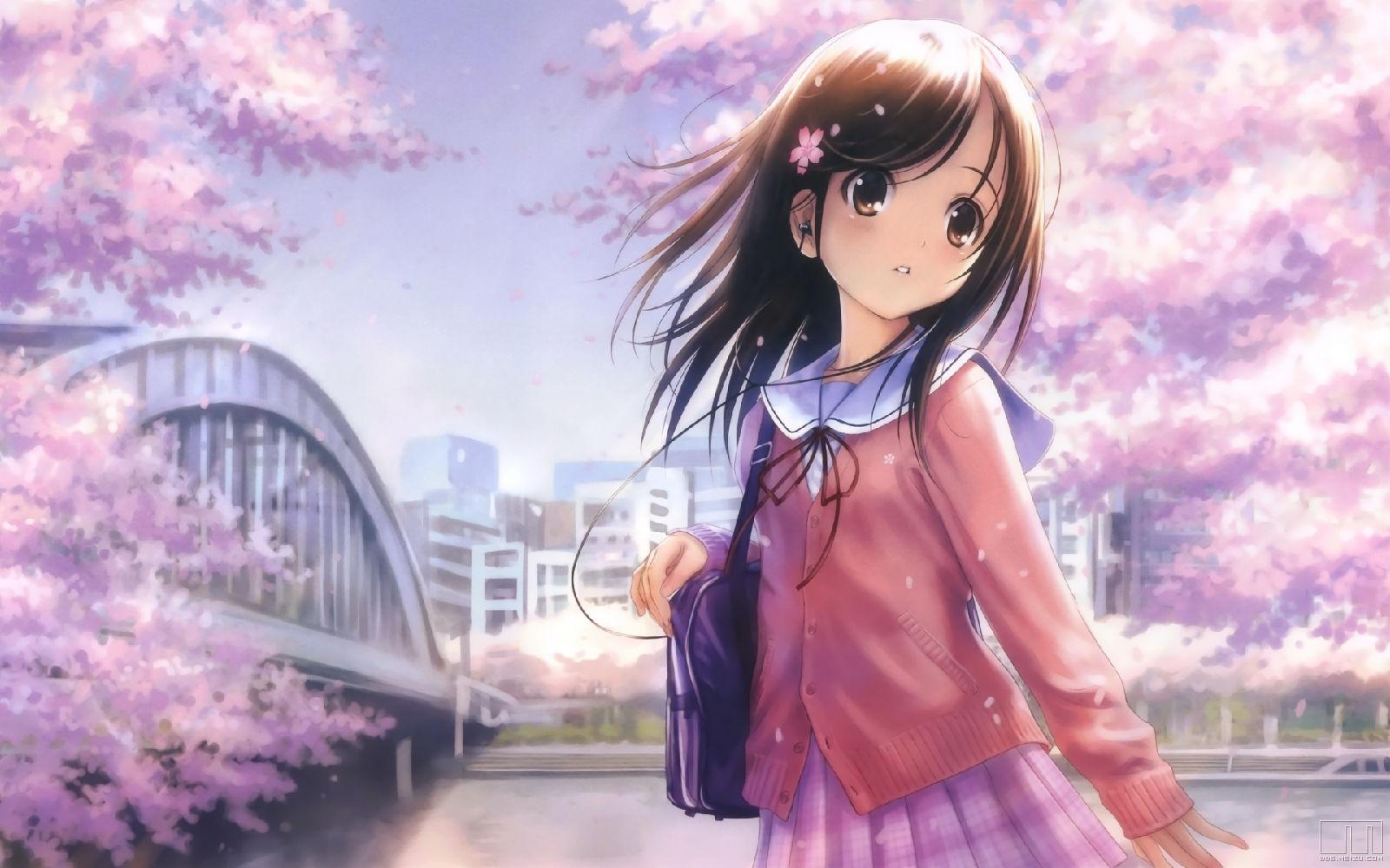 一个色集_大概是一个穿着粉红色外套的日本校服女孩,脸上很悲伤,背景有樱花&