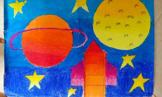 这是宝贝幼儿园让画的太空想象画,她说她想坐着火箭去月亮.图片
