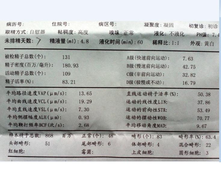 本人检查精子质量报告如图,上面有项说液化时间60分钟(不液化),需要